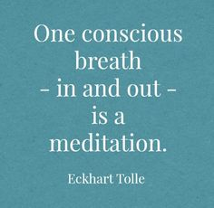 One conscious breath in and out is a meditation.