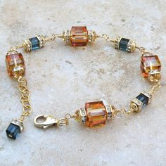 Amber Crystal Bracelet, Gold Filled, Copper and Sapphire Blue Swarovski Cube, Fall Wedding Gift, Autumn Bridesmaid Handmade Jewelry - Crystal Bracelets, Crystal Earrings, Crystal Jewelry, Beaded Jewelry, Jewelry Bracelets, Jewelery, Crystal Rhinestone, Amber Bracelet, Beaded Necklaces