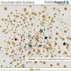 Quality DigiScrap Freebies: Goodnight star scatters freebie from Kristin Aagard Designs