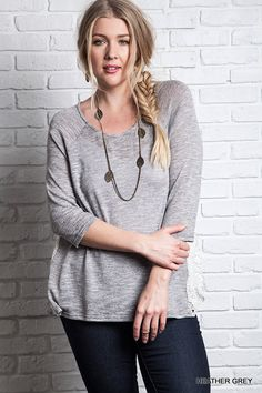 Knit Top With Side Lace Detail - Heather Grey - Curvy