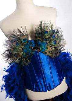 Peacock Feather Corset Costume Burlesque Fantasy Fairy Royal Blue Bird Teal Sexy Adult Women's Plus Size