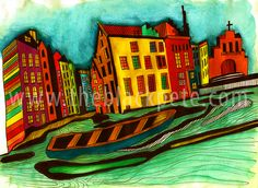 Amsterdam at Night LR Online Drawing, Pencil Drawings, Holland, Amsterdam, Portrait, Night, Classic, Painting, Shopping
