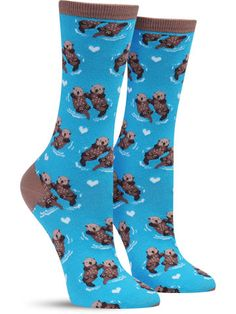 You may know that otters hold hands when they eat, sleep and rest to prevent losing each other… but did you know how cute they look while doing so?! Check out these colorful socks that show just how a