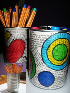 I like the decoupage print on the cans painted over with designs. Good for 7-12 yr old camp.