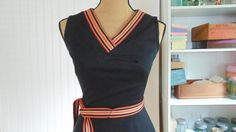 Vintage Mini Dress Black Dress Orange Trim by CaitlandStudio