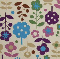 Latest Designer Fabric 'Flower Forest in Purple and Green' by Kokka (JPN). All latest Designer fabrics sold online.