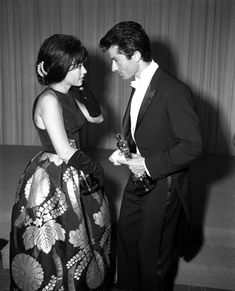 Art AND Fashion! (Rita Moreno and George Chakiris with their Oscar wins for West Side Story in 1962--and Look at Rita Moreno's Dress!!) <3