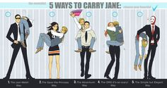 5 Ways to Carry Jane: I like the Jisbon way. Although the others are pretty hilarious -- particularly Van Pelt's. The Red John one is just scary 0.o