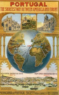 "A reproduction of a sales poster from the Portugal Society. I am not sure if this was an actual poster that has been reproduced, or if it is modern but has been drawn to look old. From the Postcrossing ""Show the Mapcard You Offer"" tag. Portugal Travel, Spain And Portugal, Portugal Tourism, Travel Ads, Travel Photos, Vintage Advertisements, Vintage Ads, Vintage Travel Posters, Vintage World Maps"