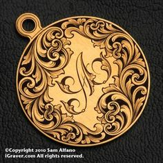 High quality custom hand engraving for wedding & engagement rings, pendants, and other jewelry articles by Sam Alfano, Master Engraver. Leather Carving, Leather Tooling, Arabesque, Metal Embossing, Engraved Jewelry, Personalized Jewelry, Scroll Pattern, Metal Engraving, Opal Jewelry