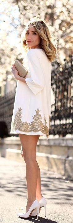 #popular #street #style #outfits #spring #2016 | White + Gold | Postolatieva