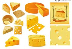 Various shapes of cheese vector material