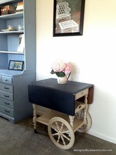 Tea Cart Makeover {with Annie Sloan Chalk Paint®} I think my mother would kill me if we did this to her antique piece, but I love it!