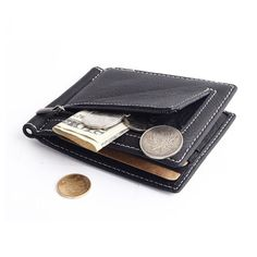 78067721ec7b US $17.5 |Aliexpress.com : Buy Brand Genuine leather men money clip with  coin pocket high quality stainless steel clip money leather Men Wallets  from ...