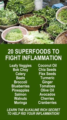 20 Superfoods To Fight Inflammation. Learn about Zija's Moringa based product line. Alkaline rich and antioxidant loaded health that fights free radicals that cause oxidative stress which is a leading contributor to inflammation. Get our FREE eBook that includes fitness plan, food diary, and exercise tracker. Start living your best life now! LEARN MORE #Inflammation #Antioxidants #Alkaline #Healthy #Superfoods