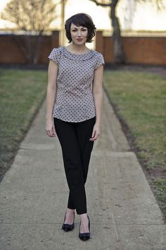 Polka Dot Top + Black Pants featuring member Emerald (could do black shorts instead) Gamine Style, Soft Gamine, Work Wardrobe, Wardrobe Ideas, Work Looks, Work Attire, Signature Style, Spring Summer Fashion, Spring Style