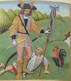 nice hat. not sure about the guy on the ground. he needs a doctor. asap. http://gallica.bnf.fr/ark:/12148/btv1b8426258c