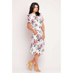 Rochie casual cu imprimeu floral roses Awama Short Sleeve Dresses, Dresses With Sleeves, Shoulder Dress, Casual, Floral, Fashion, Moda, Sleeve Dresses, Fashion Styles