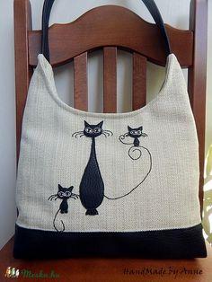 Meska - Cica família - fekete, fehér cicás táska, válltáska annetextil kézművestől