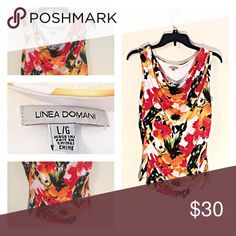 Linea Domani Colorful Floral Blouse Gorgeous Linea Domani Blouse. Stretchy fabric gathered at the bottom to flatter your figure. Bright colors for summer and sleeveless to keep you cool. Extremely comfortable fabric too! Linea Domani Tops Blouses