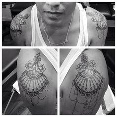 Epaulette Tattoos.  Delicate work by Ticha. Geometric Tattoo Shoulder, Geometric Tattoo Nature, Geometric Tattoo Meaning, Geometric Tattoos Men, Geometric Tattoo Design, Shoulder Tattoo, Tattoos For Guys, Tattoos For Women, Type Tattoo