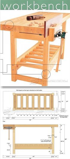 Wood Workbench Plan - Workshop Solutions Plans, Tips and Tricks   WoodArchivist.com   Woodworking Plans   Pinterest