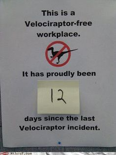 Flaming Zombie Monkeys: Velociraptor Free Workplace