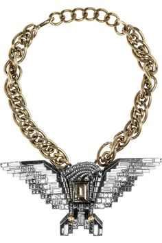 This Lanvin Eagle Necklace is absolutely gorgeous, but almost equally as unattainable. Not only does it sit at $1,985, but its also a celeb favorite - which might be why its pretty much sold out ev...