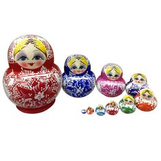 10pcs/set Wooden Matryoshka Doll Set Russian Dolls Baby Toy Nesting Dolls Colorful Handmade Matryoshka Doll Toy Birthday Gifts #Affiliate
