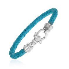 Sterling Silver Woven Leather Aqua Bracelet