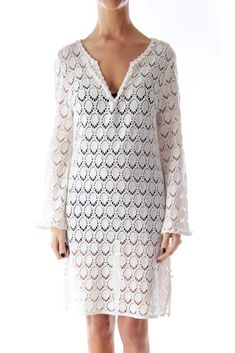 Gear up for the beach with this dress  White Crochet Cover Up Dress by Trina Turk #silkroll
