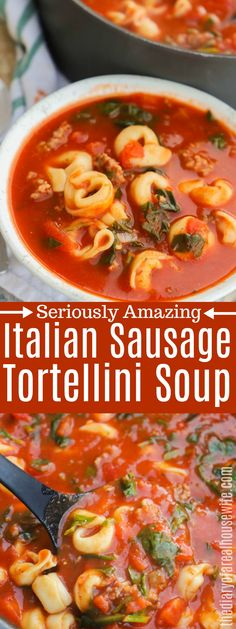 Italian Sausage Tortellini Soup - Made this in crock pot. Add tortellini last hour. (added 1 hour and was too early) Might double sausage next time. Italian Sausage Tortellini Soup, Crock Pot Tortellini, Tortellini Recipes, Soup With Italian Sausage, Cheese Tortellini, Ground Italian Sausage Recipes, Shrimp Recipes, Best Soup Recipes, Soup Recipes