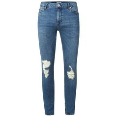 TOPMAN Mid Wash Blue Ripped Spray On Skinny Jeans ($49) ❤ liked on Polyvore featuring men's fashion, men's clothing, men's jeans, blue, mens skinny fit jeans, mens light wash jeans, mens blue jeans, mens super skinny jeans and mens super skinny ripped jeans