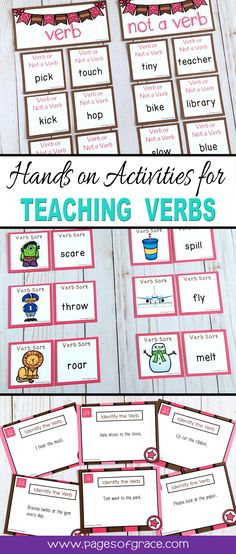 Are you looking for some fun ideas and activities for teaching students about verbs? Check out this unit that is full of hands on, interactive lessons, games, centers, anchor charts, task cards, and printables and worksheets! Great for kindergarten, first grade, and second grade kids in the classroom, small group centers, and homeschool. Click on the picture to see more details.