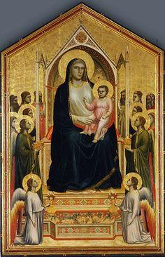 ***La madona de Ognissanti, Giotto, h. 1310. Galería Uffizi, Florencia,  Italia.