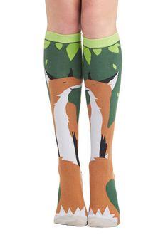 Fox Trot Along Socks - Print with Animals, Casual, Good, Knit, Multi, Green, Tan / Cream