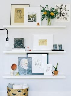 Floating shelves, styling