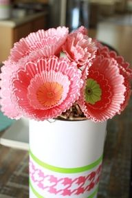 Gerbera Daisy in cupcake liners. Works great with roses, too!