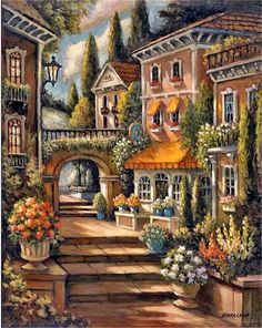 Street Steps 1 - Counted cross stitch pattern in PDF format Landscape Art, Landscape Paintings, Graffiti Kunst, Beautiful Places, Beautiful Pictures, Image Nature, Thomas Kinkade, Beautiful Paintings, Painting & Drawing