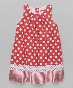 d3eb4ddfab1d8 Love this Red Polka Dot & Stripe Dress - Toddler & Girls by Funkyberry on
