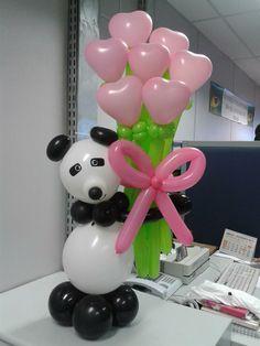 Panda out of balloons Love Balloon, Balloon Gift, Balloon Arch, Balloon Arrangements, Balloon Centerpieces, Balloon Decorations, Panda Birthday Party, Panda Party, Bubble Balloons