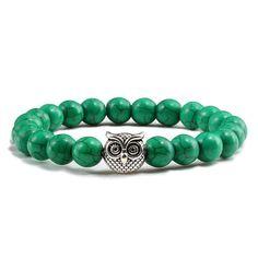 Turquoises Owl Sliver Gold Casual Beaded Bracelets - Dark Green Silver