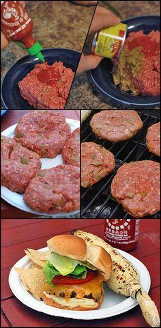 Spicy Sriracha Chile Burgers   Click