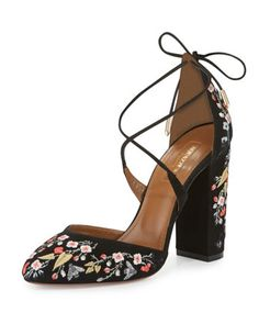 Karlie+Embroidered+Suede+Block-Heel+Pump,+Black+by+Aquazzura+at+Neiman+Marcus.
