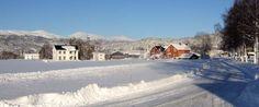 Veien langs kirkegårdsmuren mot Corner, Vårtun og Bortistuen. Løfallfjell i det fjerne.