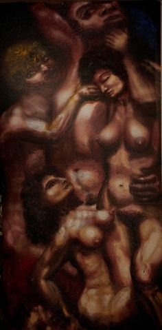 "Alexander Kanevsky's ""Judgement of Paris"" (2013, Oil on wood, 244 x 122 cm) exhibited at Museo MACIA Palazzo Merati della 55 Biennale Venezia"