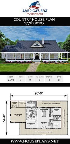 House Plan 1776 00107 Country Plan 2 090 Square Feet 3 Bedrooms 2 Bathrooms In 2021 Porch House Plans Farmhouse Floor Plans Ranch House Plans