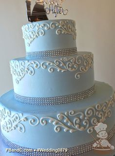 """Design W 0879   Butter Cream Wedding Cake   14""""+10""""+6""""   Serves 125  Crystal Bling Band, Baby Blue/Cinderella Blue/Light Blue Tinted Buttercream, White Hand Piped details   Custom Quote"""