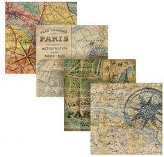 Shabby Chic Paris Maps Squares Decoupage by memoriesemporium