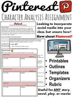 Students can create either a personal Pinterest profile, or a profile for a character from a short story, novel, play, movie, or person from history. The assignment and instructions are laid out in a manner which is very clear - even for someone who has never used the site!